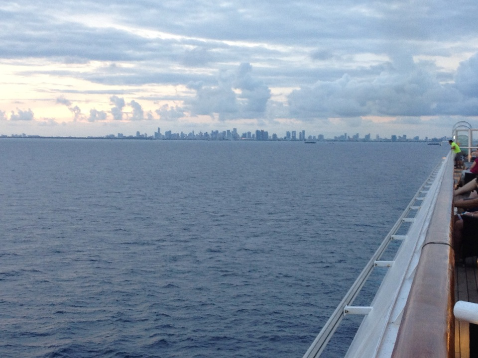 Cruising away and looking back at the Miami skyline