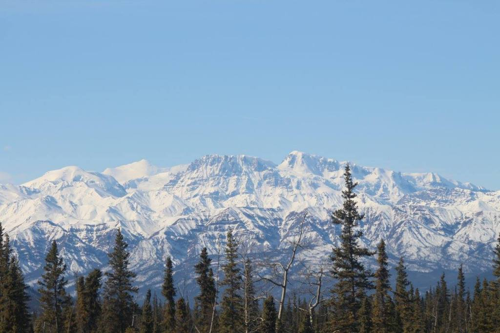 The only time we had clear skies while driving the Alaska Highway was when we drove passed Kluane National Park. Its mountains are pictured here.