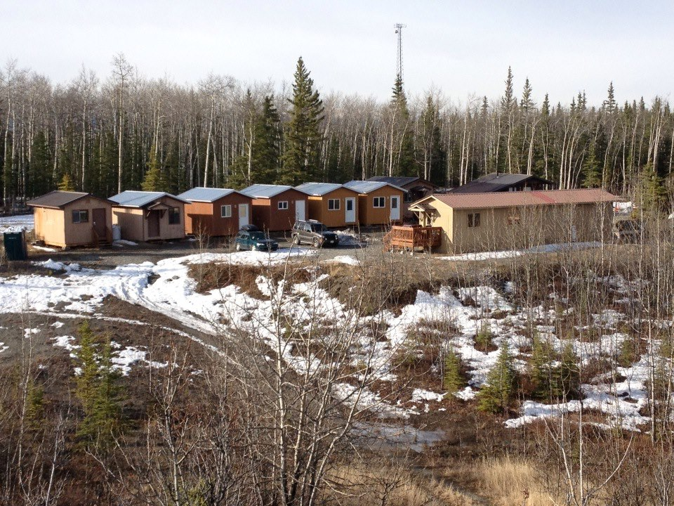 A row of cabins that seasonal rangers and interns (like Riley) live in during the summer