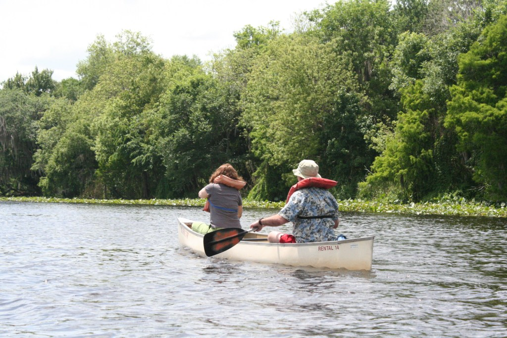My aunt and uncle canoeing