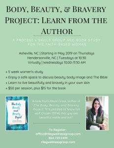 Body, Beauty, & Bravery Project: Learn from the Author Flyer | Eating Disorder Groups | Asheville & Hendersonville, NC | Greenville, SC