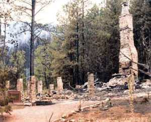 Zane Grey Cabin after Dude Fire destroyed it.