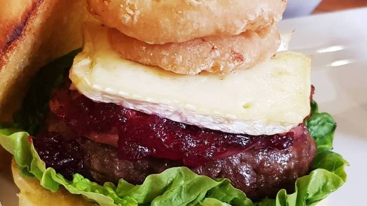 Bacon Brie & Cranberry Burger With Homemade Coleslaw