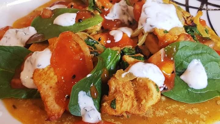 Chicken Dosa Pancake with Sticky Mango Chutney and Cooling Mint Raita