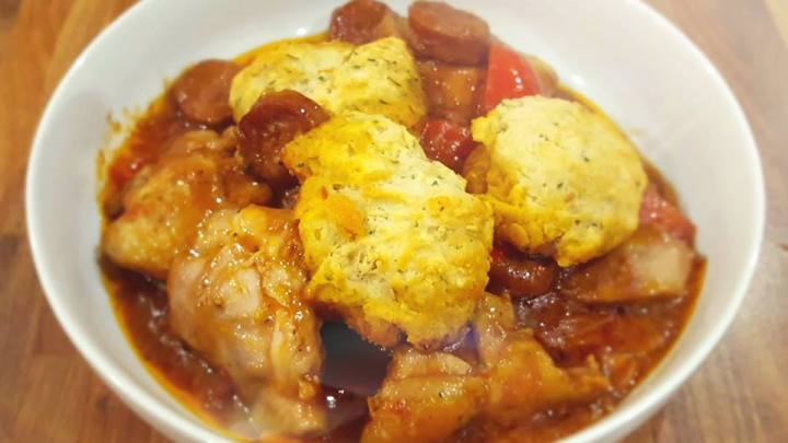 Chicken and Chorizo Stew with Garlic and Herb Dumplings