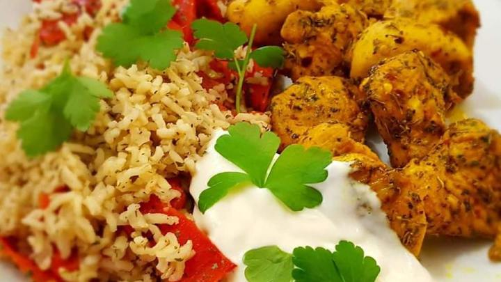 Turmeric Chicken and Red Pepper Rice