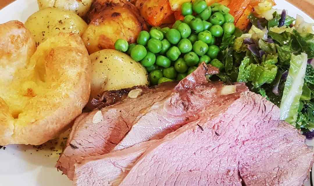 Roast leg of lamb with honeycomb and minted Jersey Royals