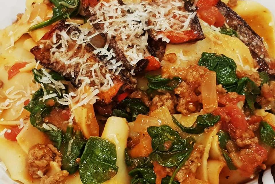 Lamb Ragu Pappardelle with Roasted Red Pepper