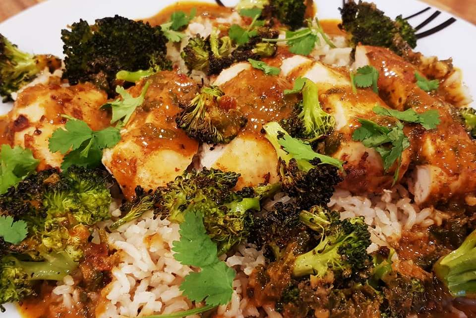 Mexican Spiced Chicken with Roasted Broccoli and Coconut Sauce