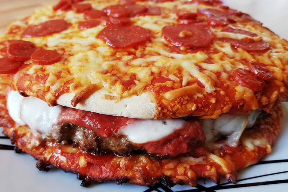 Cheese and Pepperoni Pizza Burger