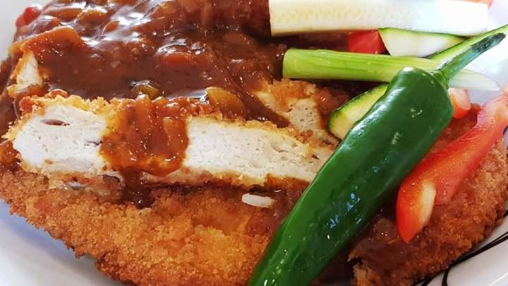 Chicken katsu Crunchy Golden Chicken, Curry Sauce & Homemade Pickles