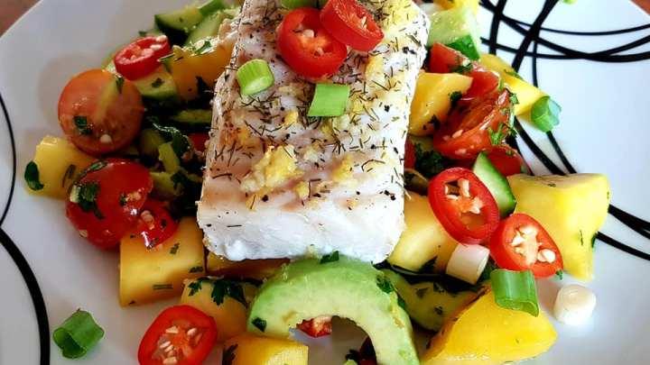 Cod with Cucumber, Avocado & Mango Salsa Salad