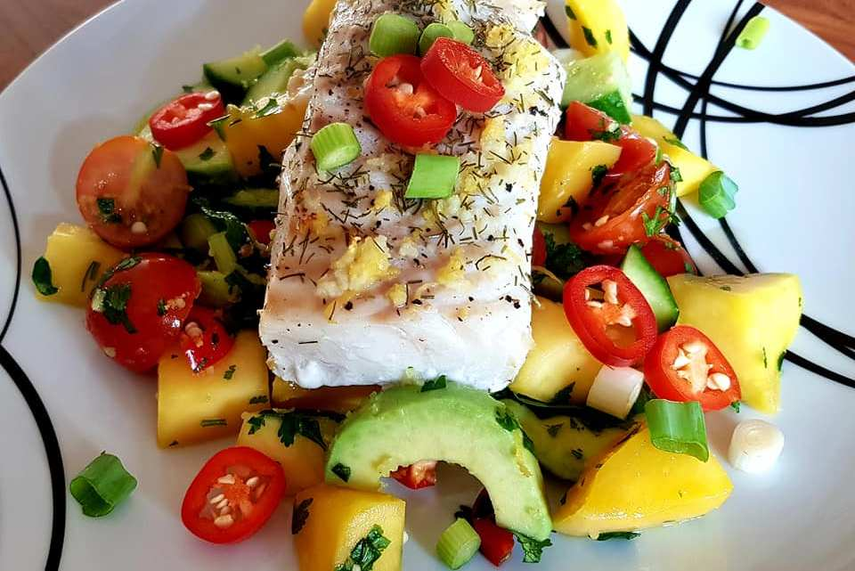 Cod with Cucumber, Avocado & Mango Salsa Salad