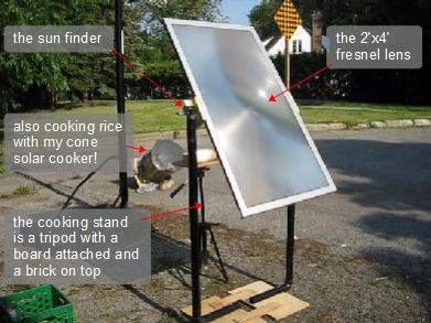 The first cooking version of my fresnel lens solar cooker.