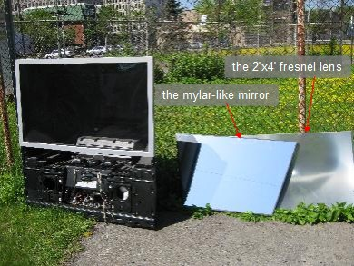 The 2'x4' fresnel lens and the mylar-like mirror from the rear projection TV.