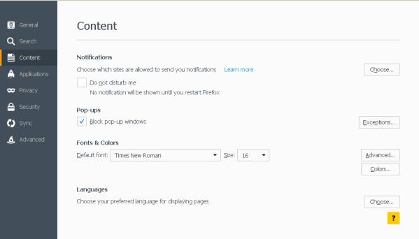 Mozilla Blocco Pop-up in scheda Contenuto