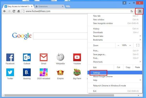 impostazioni di menu Chrome