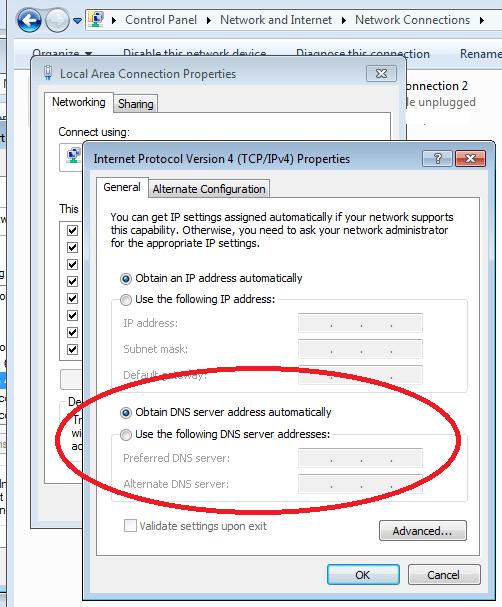 Ottieni indirizzo server DNS automaticamente