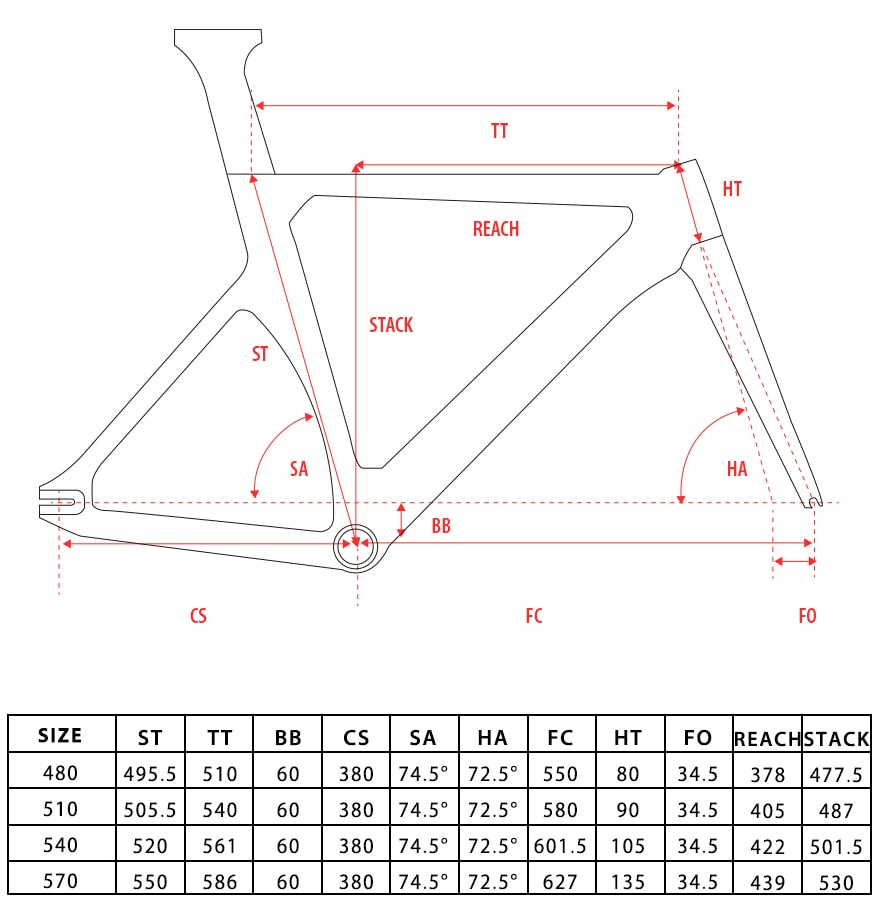 Fixie carbon bike frame geometry