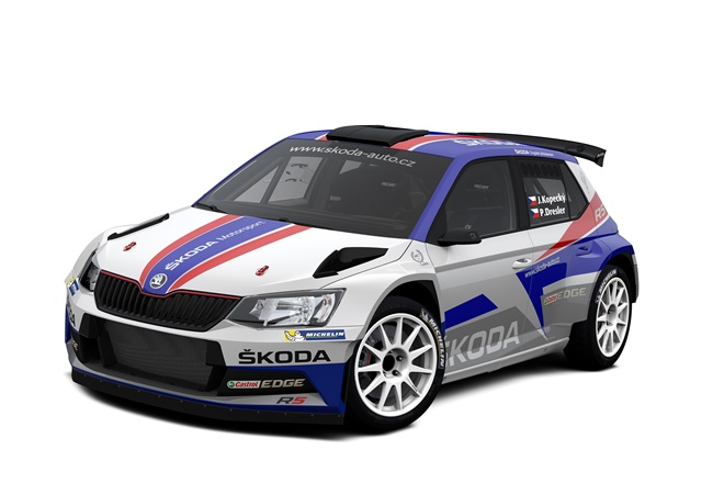 Skoda Fabia WRC bandera checa