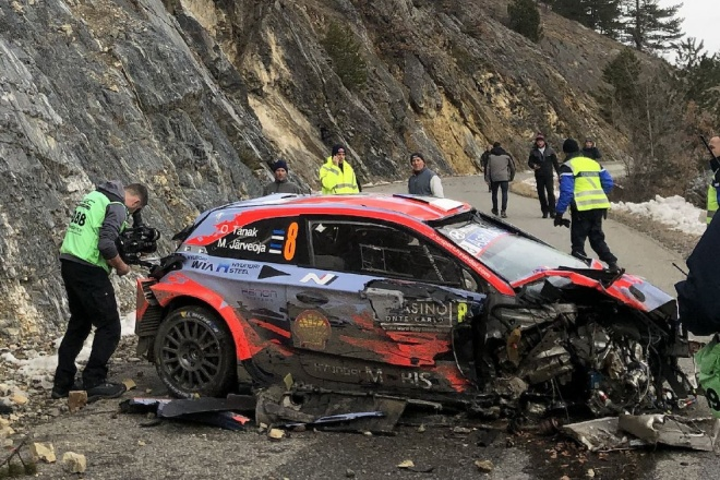 tanak hyundai i20 accidente rallye monte carlo 2020 etapa 1