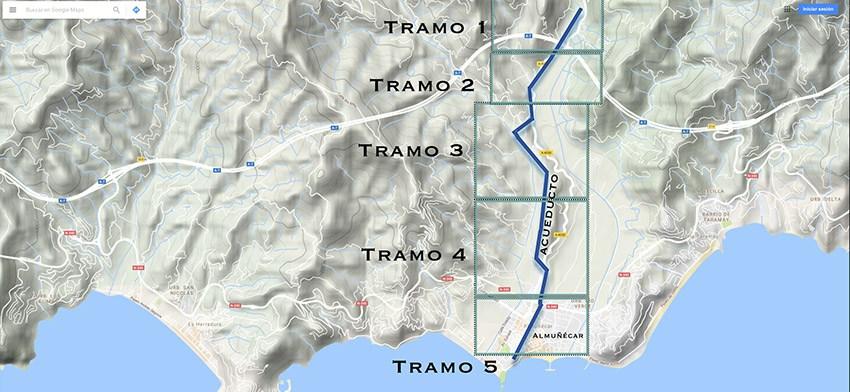 TRAZADO Y TRAMOS DEL ACUEDUCTO DE ALMUÑÉCAR