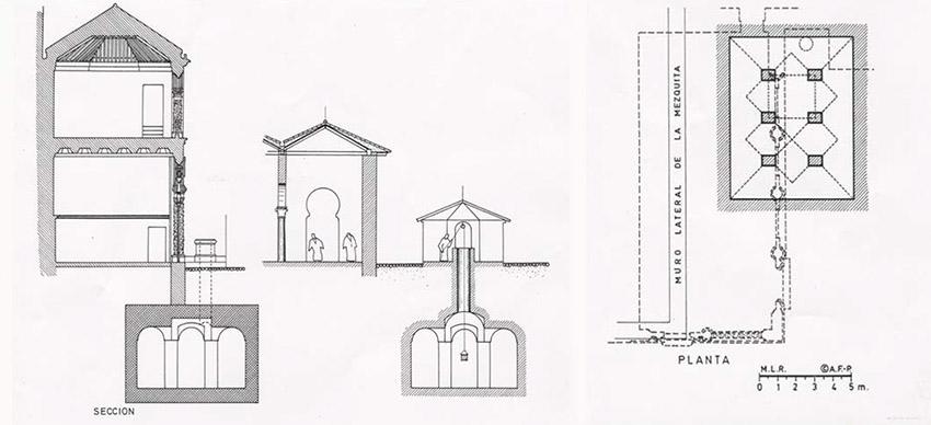 Planta y sección del aljibe junto a la mezquita. Pabellón octogonal nazarí sobre el aljibe que cubría la fuente. (según M. López Bueno y P. Salmerón)