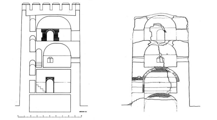 Torre de Romilla- Sección longitudinal recontruida ( izquierda) y actual ( derecha)