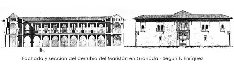 Fachada y sección del derrubio del Maristán en Granada