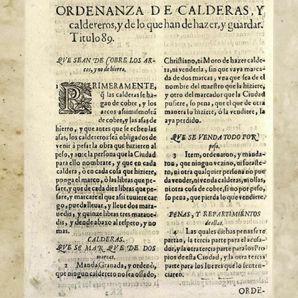 Ordenanzas de calderas y caldereros siglo XVI