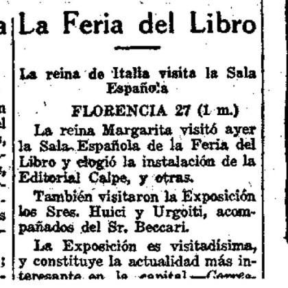 FERIA DEL LIBRO DE FLORENCIA 1922