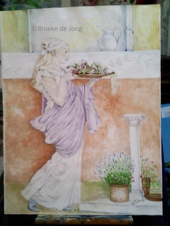 Een studie naar Alma Tadema 1, aquarel ca. 50x60 cm.