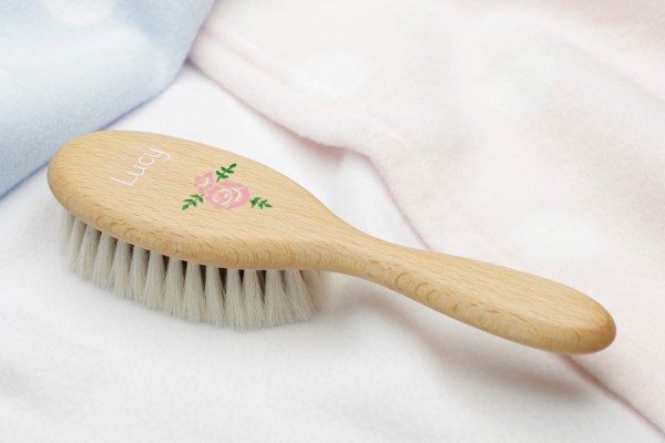personalised baby or childs hair brush rose design