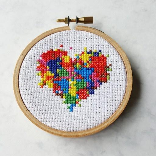 messy heart cross stitch pdf pattern