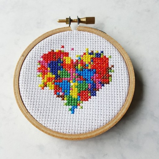 messy heart cross stitch pdf pattern