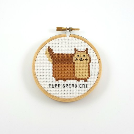 Purr bread cat cross stitch pdf pattern