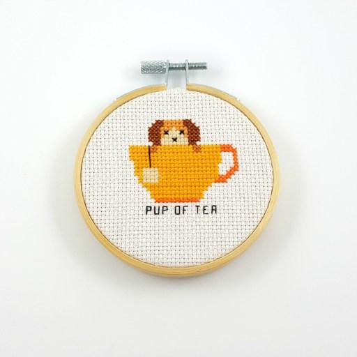 Pup of tea cross stitch pdf pattern