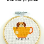 pup of tea cross stitch pdf pattern