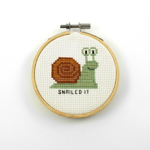 Snailed it cross stitch pdf pattern