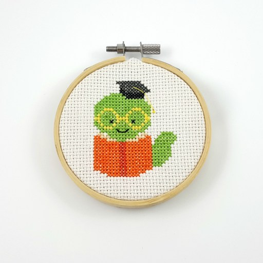 book worm cross stitch pfd pattern