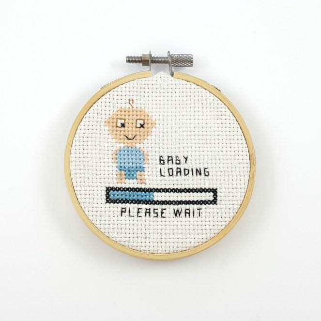 Boy baby loading cross stitch pdf pattern