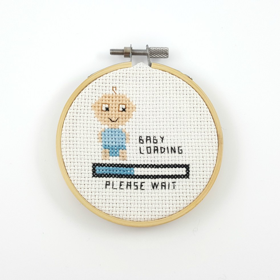 Baby boy loading cross stitch pdf pattern