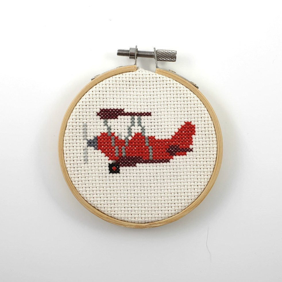red airplane cross stitch pdf pattern