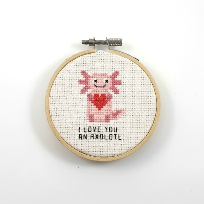 I love you an axolotl cross stitch pdf pattern