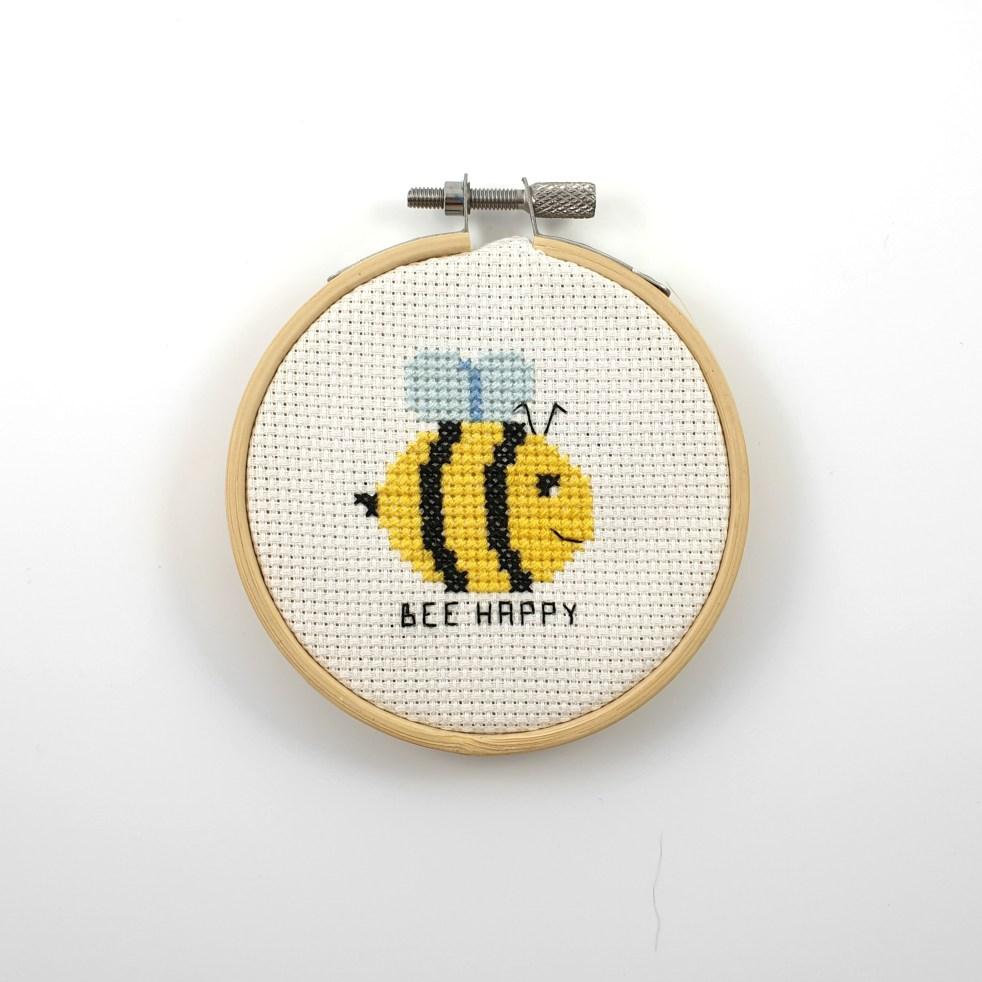 Bee happy cross stitch pdf pattern
