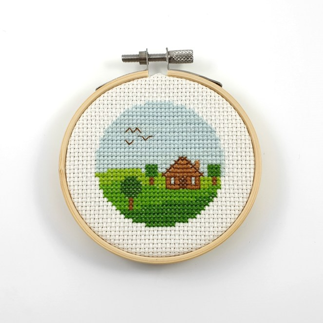 Cabin view cross stitch pdf pattern