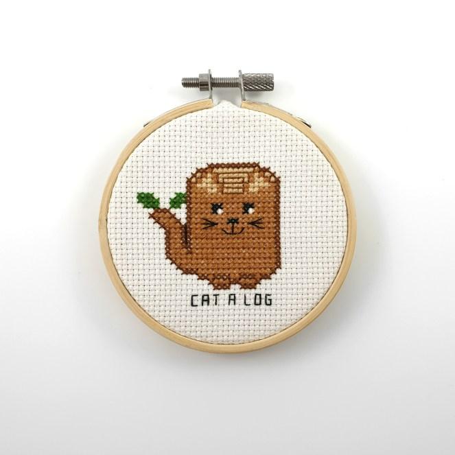 Cat a log cross stitch pdf pattern