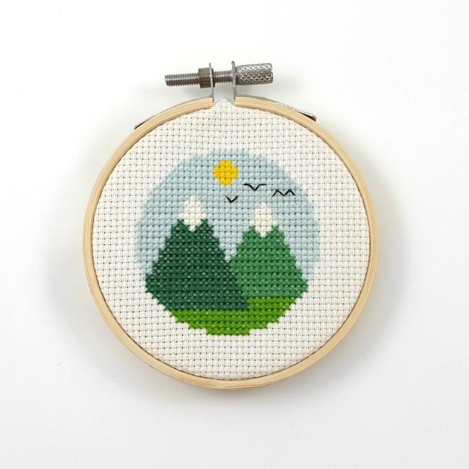 Mountains cross stitch pdf pattern