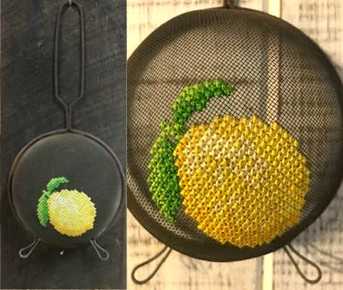 lemon stitch on a mesh strainer by Pam Peterson