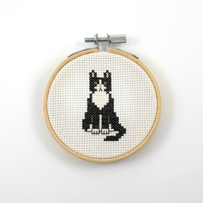 Tuxedo cat cross stitch pdf pattern